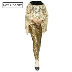 Set Cape Brukat Brokat Kebaya Modern dan Rok Lilit  Brukat Wanita Cream