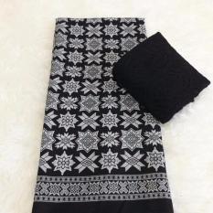 Set kain satin bali murah songket bintang hitam dan brokat hitam