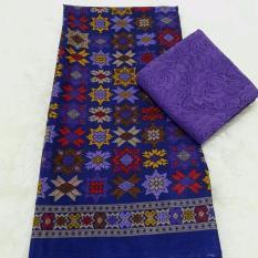 Set kain satin bali murah songket bintang ungu dan brokat ungu - ungu