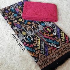 Set kain satin bali murah songket merak hitam dan brokat pink lembaran