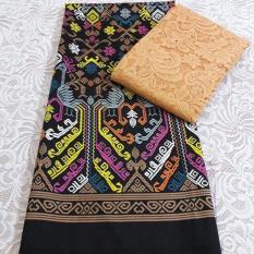 Set kain satin bali songket merak hitam dan brokat golg lembaran