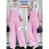 Jual Set Levita Pink Setelan Baju Muslim Polos Wanita Pf Online Original