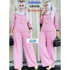 Set Levita Pink Setelan Baju Muslim Polos Wanita - PF