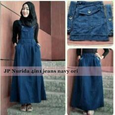 Set Nurida 3In1 Rok Kodok Maxidress Jeans Setelan Wanita Hijab A043 - W7hreo