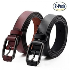 Set of 2 Womens Fashion Genuine Cowhide Leather Belt Vintage Casual Belts for Jeans Shorts Pants Summer Dress for Women With Alloy Pin Buckle By ANDY GRADE