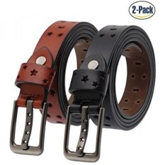Set of 2 Womens Genuine Cowhide Leather Belt Ladies Vintage Casual Belts for Jeans Shorts Pants Summer Dress for Women With Alloy Pin Buckle By ANDY GRADE B075DD2GYM