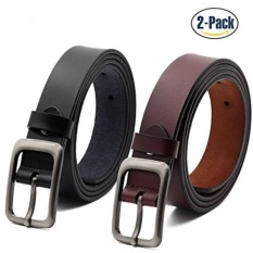 Set of 2 Womens Genuine Cowhide Leather Belt Ladies Vintage Casual Belts for Jeans Shorts Pants Summer Dress for Women With Alloy Pin Buckle By ANDY GRADE