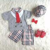 Harga Hemat Setelan Anak Cowok Kemeja Kotak Plus Topi Baju Anak Laki Laki Murah Stelan Formal Dasi Pakaian Pesta Bayi