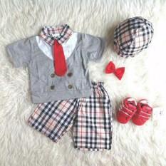 Jual Setelan Anak Cowok Kemeja Kotak Plus Topi Baju Anak Laki Laki Murah Stelan Formal Dasi Pakaian Pesta Bayi Di Bawah Harga