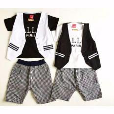 Setelan Anak Cowok Rompi Ballin Paris 3 in 1 -  Baju Anak Laki-Laki 1 2 tahun Murah - Stelan Formal dasi - Pakaian Pesta Bayi