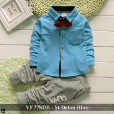 VLOVI - Setelan Baju Anak Cowo Murah - VF77SDB st delon  blue fit 3-5 tahun Biru