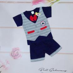 Setelan baju anak laki laki /cowok model kaos rompi dan celana (cocok untuk lebaran) - Biru