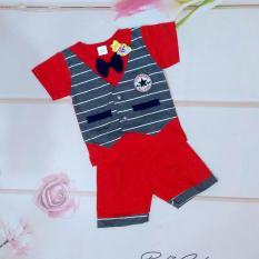 Setelan baju anak laki laki /cowok model kaos rompi dan celana (cocok untuk lebaran) - Merah