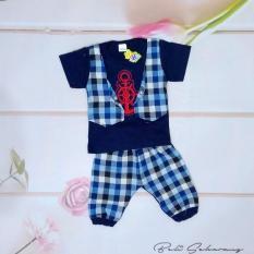Setelan baju anak laki laki /cowok model kaos rompi, dasi kupu dan celana (cocok untuk lebaran) - Biru
