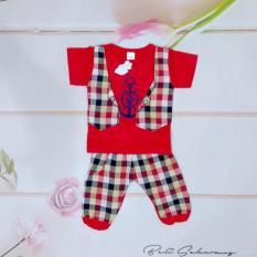 Setelan baju anak laki laki /cowok model kaos rompi, dasi kupu dan celana (cocok untuk lebaran) - Merah
