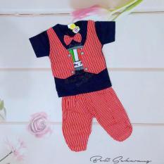 Setelan baju anak laki laki /cowok model kaos rompi kemeja dan celana (cocok untuk lebaran) - Biru
