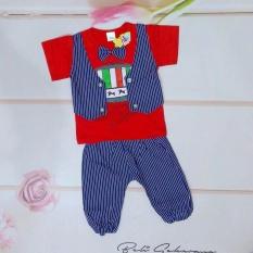 Setelan baju anak laki laki /cowok model kaos rompi kemeja dan celana (cocok untuk lebaran) - Merah
