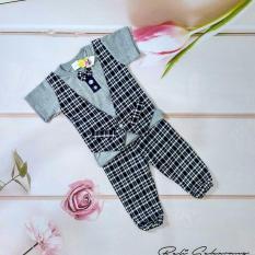 Setelan baju anak laki laki model kaos rompi, dasi kupu dan celana (cocok untuk lebaran) - Hitam