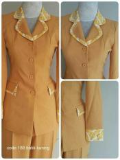 Jual Setelan Baju Blazer Blazer Batik Wanita Warna Kuning Kode 188