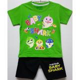 Iklan Setelan Baju Kaos Anak Baby Shark Hijau Size 1 6 Tahun