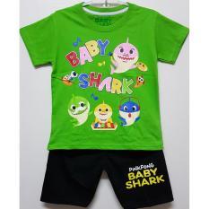 Beli Setelan Baju Kaos Anak Baby Shark Hijau Size 1 6 Tahun Indonesia
