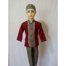 Setelan Baju Koko Anak Muslim Lengan Panjang Set Celana Peci SAK 063L