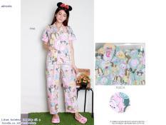 Setelan Baju Tidur Wanita Lengan Pendek Celana Panjang Murah 1651 - AF