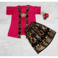 Diskon Besarsetelan Batik Anak Bahan Katun Warna Pink Bac29 1 5Tahun