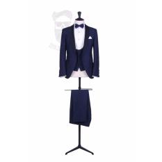 Setelan Jas Pria Formal Glamour & VVIP Party Style / Jas Formal High Class / Jas Prewedding / Jas Formal Excekutive (Jas+Vest+Celana) - Blue