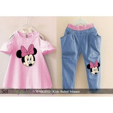Setelan kaos Anak Bagus - Jual Baju Anak Perempuan Cantik - VH90KBM - kids babol minnie fit 4-5 tahun
