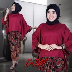 Setelan Kebaya Modern (Blouse Kalong) /Stelan baju batik wanita/kebaya modern kalong katun terbaru