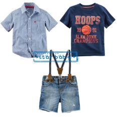 Setelan Kemeja Biru Kaos Navy Celana Jeans