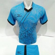 setelan olahraga kaos bola jersey futsal baju volly mizuno abstrak biru muda