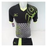 Jual Setelan Olahraga Kaos Bola Jersey Futsal Baju Volly Mizuno Batik Hitam Hijau