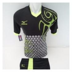 Iklan Setelan Olahraga Kaos Bola Jersey Futsal Baju Volly Mizuno Batik Hitam Hijau