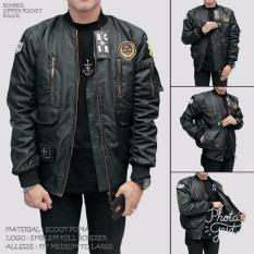 SEVEN KEYS Jaket bomber premium BGSR pocket pria keren - Black - Hitam