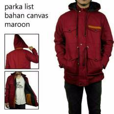 SEVEN KEYS Jaket parka saku strip suede premium pria keren - Maroon