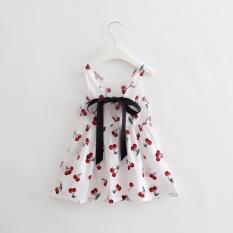 Sexe Mara 2017 Korea Visi Girls Pakaian Musim Panas Girl Anak Perempuan Motif Berry Dress Belakang V Gaun Gadis Cotton Kids Vest Gaun Anak Pakaian (PUTIH) -Intl