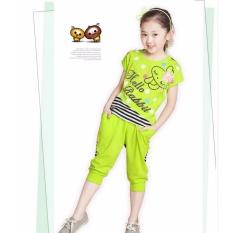 Spesifikasi Sexe Mara Gadis Pakaian Set T Shirt Celana Pendek Fashion Bayi Gadis Katun Pakaian Set Hijau Intl Yang Bagus Dan Murah
