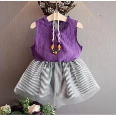 Sexe Mara Baru Girls Pakaian Set Tanpa Lengan T-kemeja + Rok Fashion Girls Katun Pakaian Set (ungu) -Intl