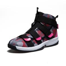 Sexe Mara Wanita Olahraga Sepatu Tinggi Top Hook & Loop Basket Sneakers (Merah Muda)-Intl