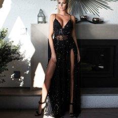 Backless Sequin Maxi Gaun Malam Elegan Paillette Robe Long Party Dress Bustier Deep V Dua Split Mermaid Dress- INTL