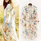Jual Beli Online Seksi Wanita Chiffon Floral Atas Batwing Selendang Baggy Kimono Sunblock Cardigan Beige