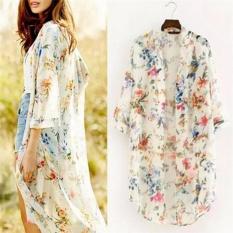 Jual Seksi Wanita Chiffon Floral Atas Batwing Selendang Baggy Kimono Sunblock Cardigan Beige Import