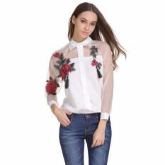 Seksi Mesh Floral Bordir Lihat Melalui Lengan Panjang Atasan Blus untuk Wanita Rose Kemeja Bersulam Bunga Longgar Blus Top dengan Tombol dan Panjang Puff Lengan Polo Neck Mulus Selebriti Wanita Kasual-Intl