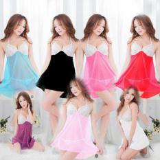 Sexy Open Lingerie Transparant Plus G-String Babydoll 4 Warna Sleepware