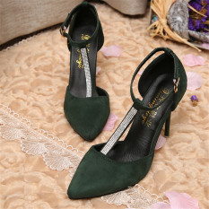 Toko S*xy Menunjuk Toe Tipis High Heel Sepatu Suede Rhinestone Pernikahan Sepatu Hijau Intl Terdekat