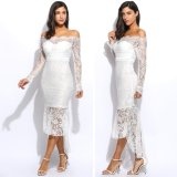 Fashion Wanita S*xy Slash Neck Lengan Panjang Off Shoulder Hollow Out Lace Bodycon Mermaid Rok Dewasa Putih Unbranded Diskon 40