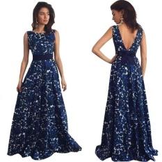 Gaun Panjang Prom Formal Motif Floral Gaun Pesta Gaun Pengantin-Intl