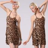 Spesifikasi S*xy Women Halter Tali Leopard Gaun Mini Tanpa Lengan Tanpa Punggung Clubwear Pesta Gaun Intl Oem Terbaru